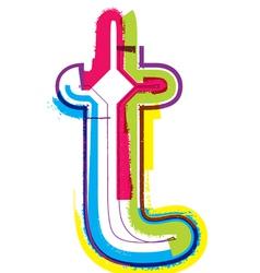 Colorful Grunge font Letter t vector image
