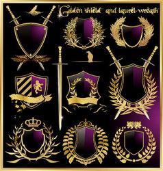 golden shield and laurel wreath vector image vector image