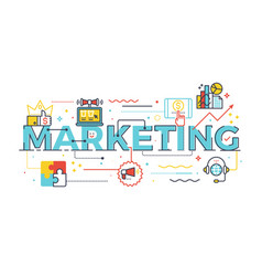 marketing word in business concept vector image vector image