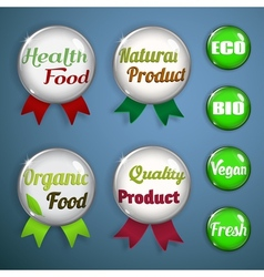 Organic labels badges and stickers from glass vector image