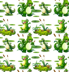 Seamless crocodile in the pond vector image