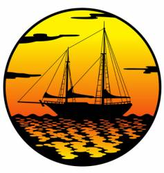 ship at sunset vector image vector image