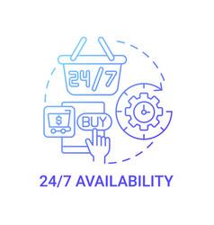 24 7 availability concept icon vector