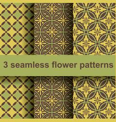 3 flower patterns vector