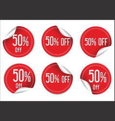 50 percent off red paper sale stickers vector