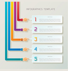 abstract 5 steps infographic template in 3d style vector image
