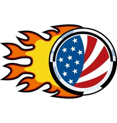 american flag on fire vector image