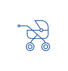 baby buggycarriage line icon concept baby buggy vector image