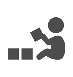 Baby plays with blocks pictograph flat icon vector