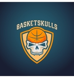 Basket skulls abstract basketball logo vector