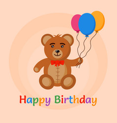 bear toy with air balloons vector image