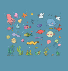 big set of marine sea theme cute cartoon turtle vector image