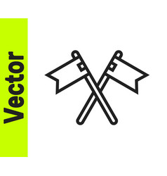 black line crossed medieval flag icon isolated on vector image