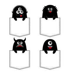 black monster silhouette set in pocket vector image