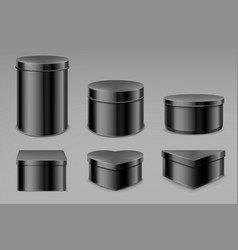 black tin boxes set blank jars for tea or coffee vector image