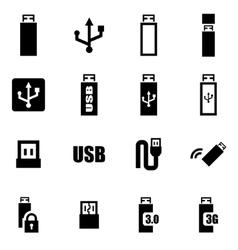 black usb icon set vector image