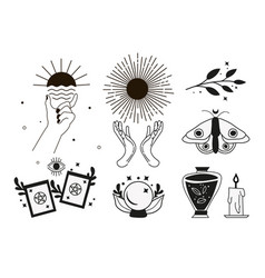 boho witch and magic collection vector image