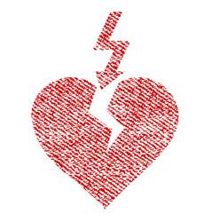 Break heart fabric textured icon vector