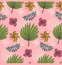 bright pattern with tropical leaves on light pink vector image