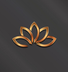 bronze lotus flower logo icon vector image