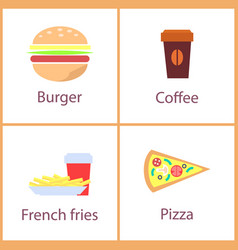 Burger and french fries set vector