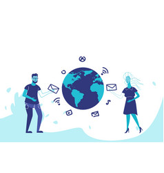 business couple global social media connection vector image