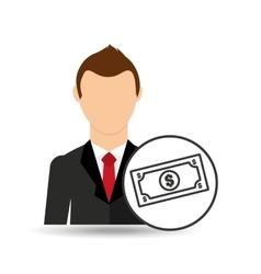 cartoon business man money bills vector image