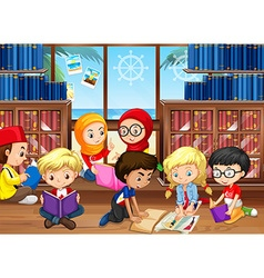 Children reading books in library vector