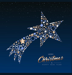 Christmas and new year copper shooting star card vector