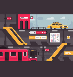 city metro street section with taxi at entrance vector image