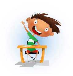 Clever cartoon school boy sitting at the desk vector