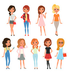 Collection cute teenager girls dressed in vector