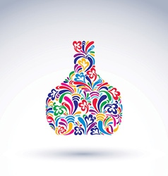 Colorful flower-patterned bottle alcohol and vector image
