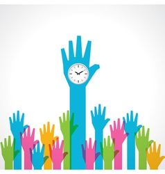 Colorful helping hand with clock vector image