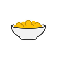 corn flakes icon cereal in bowl icon vector image