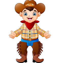 cute happy boy wearing a cowboy costume vector image