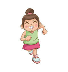 Cute little girl character happy smiling image vector