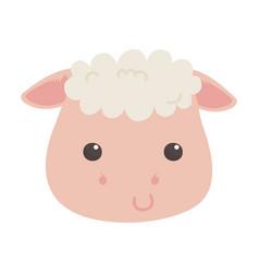 cute little sheep face animal cartoon isolated vector image