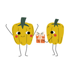 cute pepper giving gift box to another pepper vector image