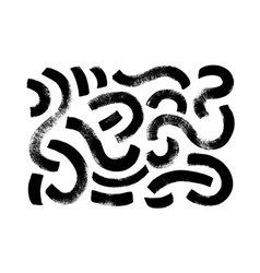 Dirty circular curved lines and wavy brushstrokes vector