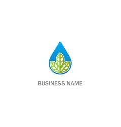 droplet green leaf eco logo vector image