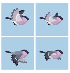 Flying bullfinch female animation sprite sheet vector