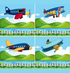 Four background with airplane flying vector