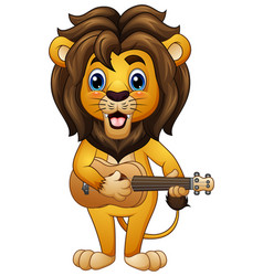 funny lion cartoon playing guitar vector image