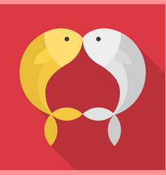 Gold and silver fish kissing on red background vector