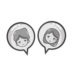 grayscale boy and girl head inside chat bubble vector image