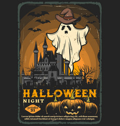 Halloween spooky ghost bats and haunted house vector