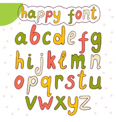 Hand drawn alphabet happy font vector image