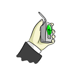 hand of businessman holding uht milk of idea vector image