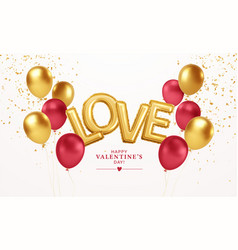 happy valentines day gold and red balloons vector image
